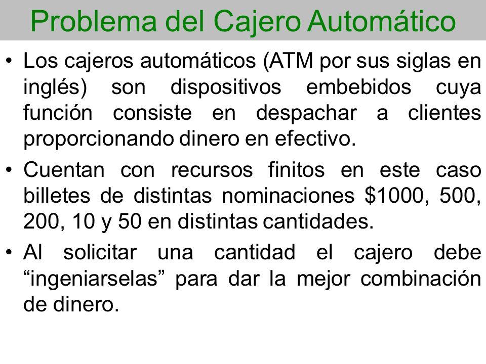 Problema del Cajero Automático Los cajeros automáticos (ATM por sus siglas en inglés) son dispositivos embebidos cuya función consiste en despachar a