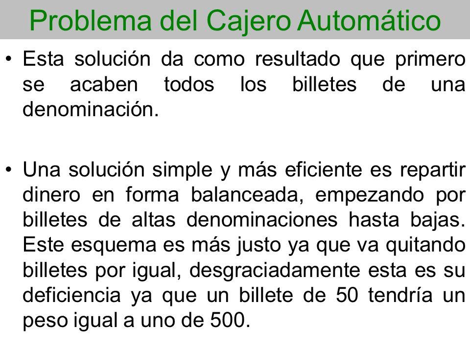 Problema del Cajero Automático Esta solución da como resultado que primero se acaben todos los billetes de una denominación. Una solución simple y más