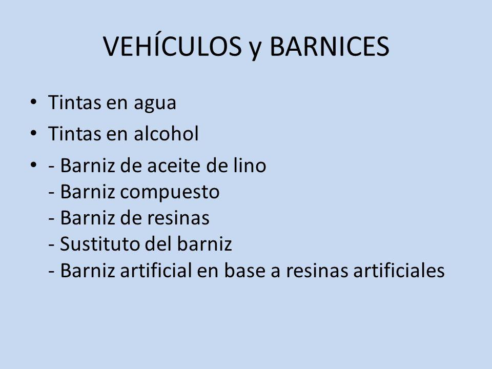 VEHÍCULOS y BARNICES Tintas en agua Tintas en alcohol - Barniz de aceite de lino - Barniz compuesto - Barniz de resinas - Sustituto del barniz - Barni