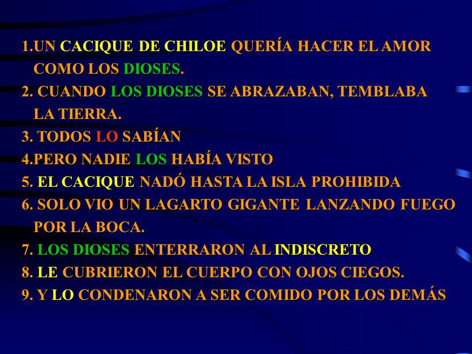 1.UN CACIQUE DE CHILOE QUERÍA HACER EL AMOR COMO LOS DIOSES. COMO LOS DIOSES. 2. CUANDO LOS DIOSES SE ABRAZABAN, TEMBLABA LA TIERRA. LA TIERRA. 3. TOD