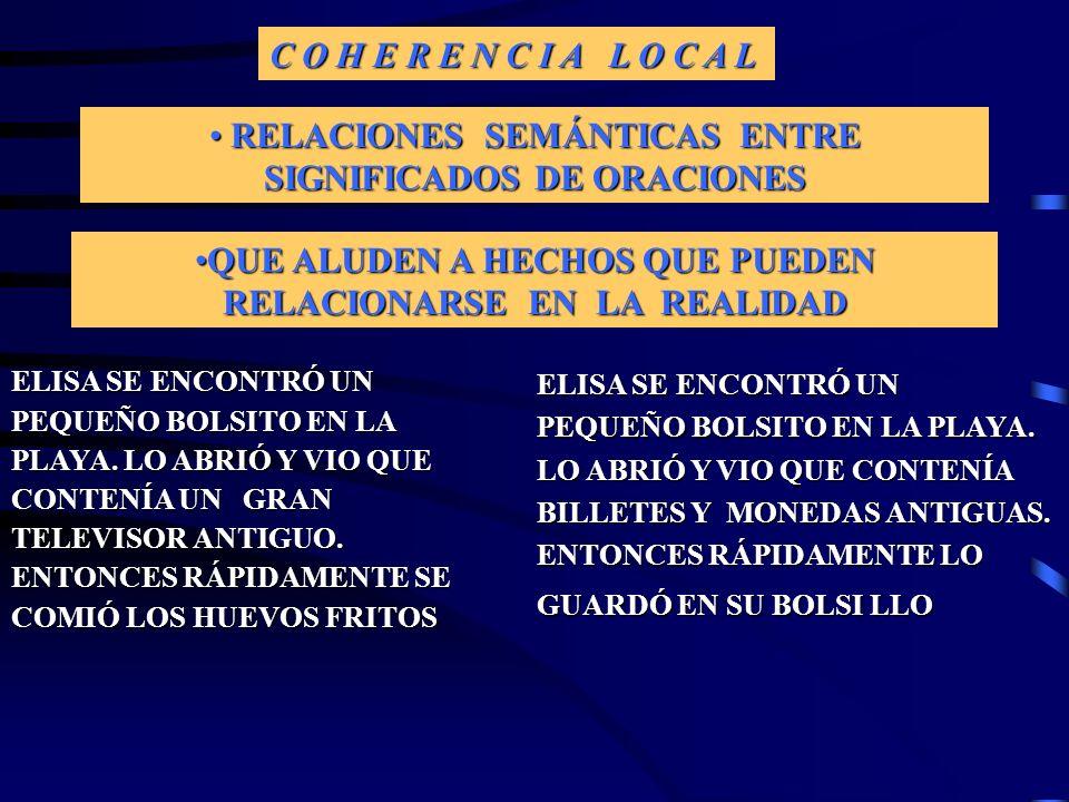 ASPECTOS DEL DISCURSO CONTENIDO FORMA 1.COHERENCIA LOCAL 2.