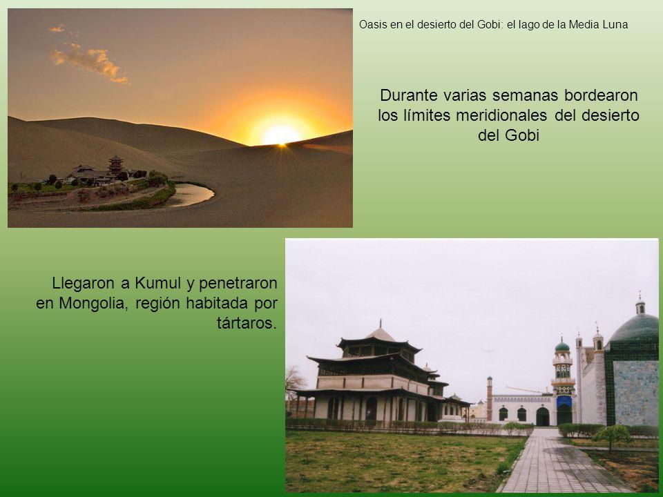 Oasis en el desierto del Gobi: el lago de la Media Luna Durante varias semanas bordearon los límites meridionales del desierto del Gobi Llegaron a Kum