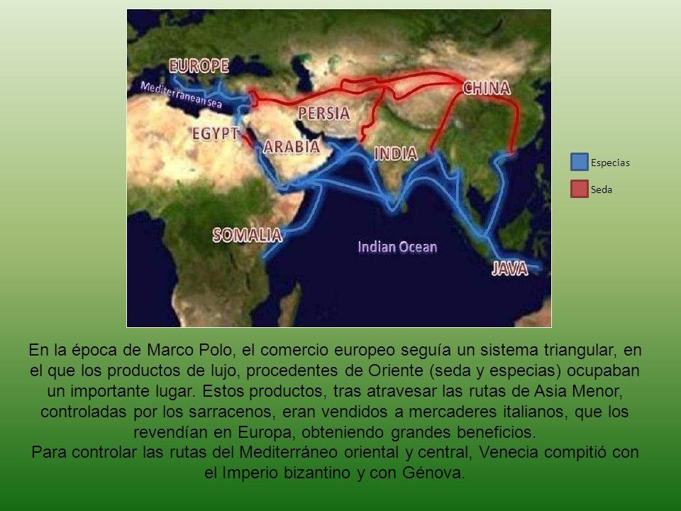 En la época de Marco Polo, el comercio europeo seguía un sistema triangular, en el que los productos de lujo, procedentes de Oriente (seda y especias)