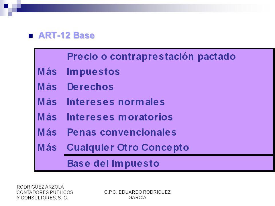 C.P.C. EDUARDO RODRIGUEZ GARCIA RODRIGUEZ ARZOLA CONTADORES PUBLICOS Y CONSULTORES, S. C. ART 10, Enajenación en territorio nacional ART 10, Enajenaci