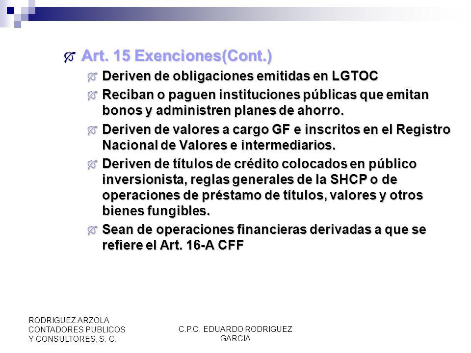 C.P.C. EDUARDO RODRIGUEZ GARCIA RODRIGUEZ ARZOLA CONTADORES PUBLICOS Y CONSULTORES, S. C. Art. 15 Exenciones(Cont.) (RM 5.4.3) Art. 15 Exenciones(Cont
