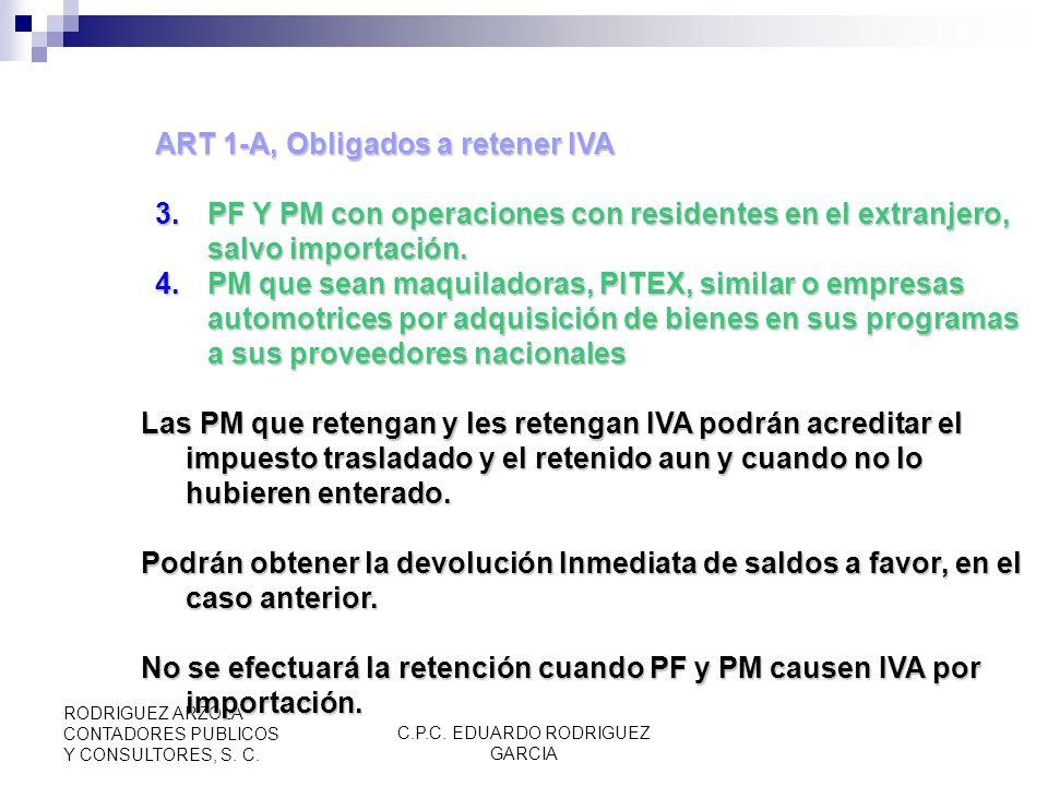 C.P.C. EDUARDO RODRIGUEZ GARCIA RODRIGUEZ ARZOLA CONTADORES PUBLICOS Y CONSULTORES, S. C. ART 1. Sujetos Obligados. (CPEUM Art. 42, RIVA 1) Personas F