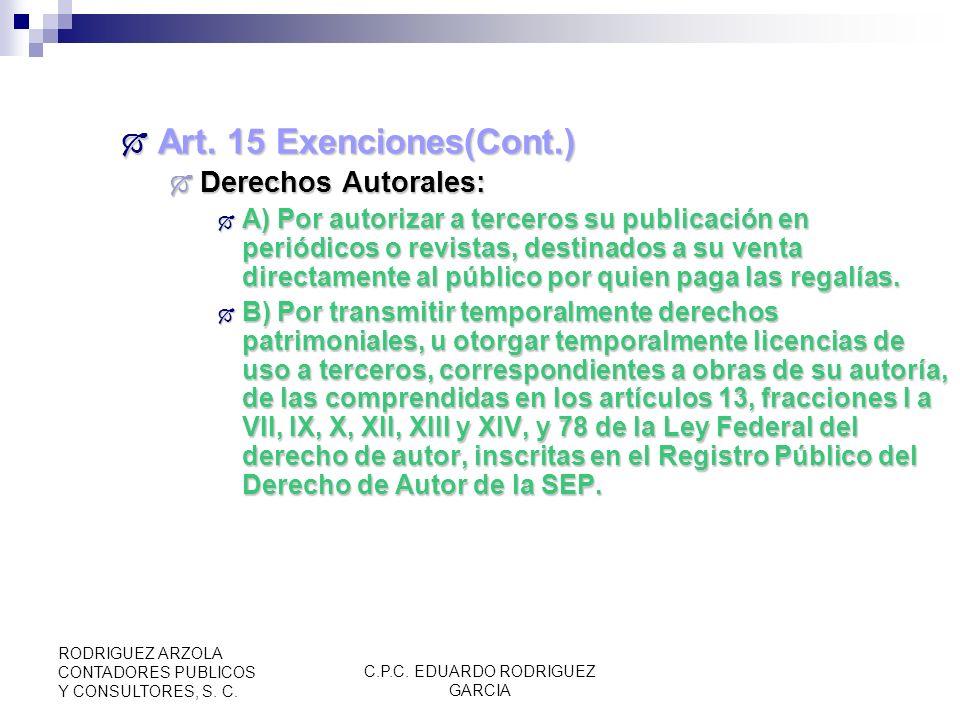 C.P.C. EDUARDO RODRIGUEZ GARCIA RODRIGUEZ ARZOLA CONTADORES PUBLICOS Y CONSULTORES, S. C. Art. 15 Exenciones(Cont.) Art. 15 Exenciones(Cont.) Proporci