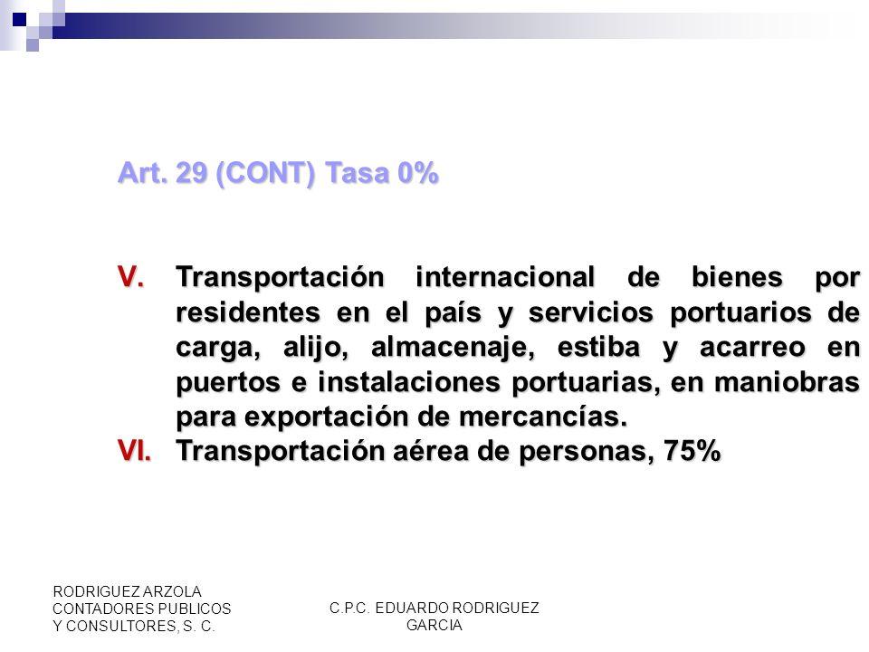 C.P.C. EDUARDO RODRIGUEZ GARCIA RODRIGUEZ ARZOLA CONTADORES PUBLICOS Y CONSULTORES, S. C. DE LA EXPORTACIÓN DE BIENES Y SERVICIOS Art. 29 Tasa 0 IV.Ap