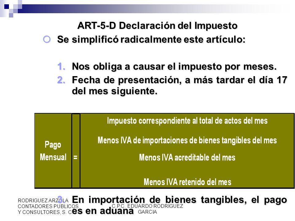 C.P.C. EDUARDO RODRIGUEZ GARCIA RODRIGUEZ ARZOLA CONTADORES PUBLICOS Y CONSULTORES, S. C. Factor de Acreditamiento, Conceptos a excluir, Nuevo (ART. 5