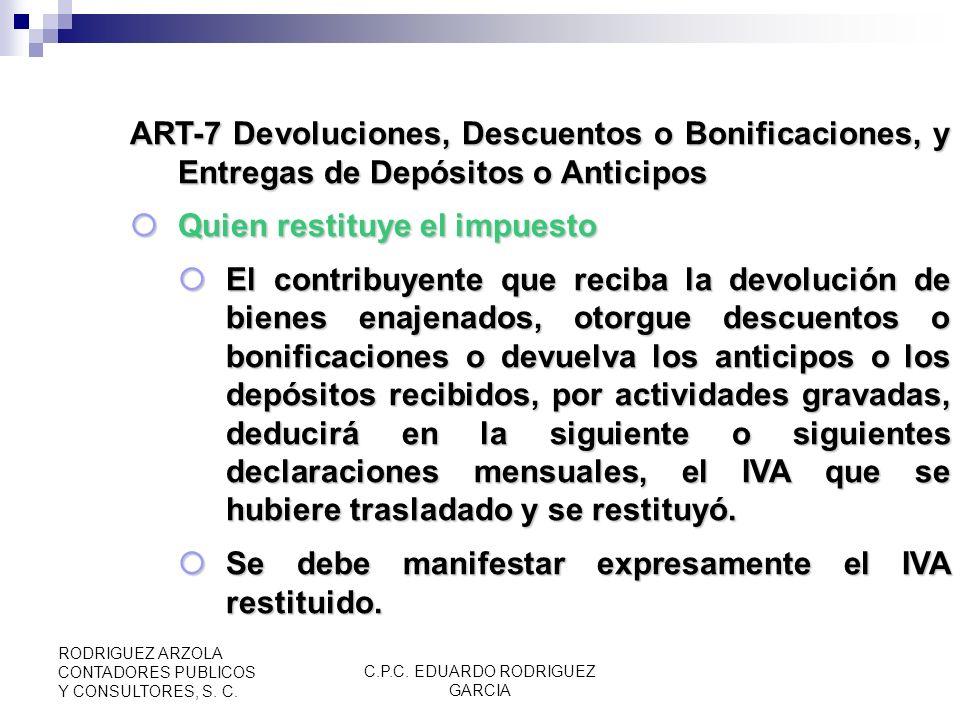 C.P.C. EDUARDO RODRIGUEZ GARCIA RODRIGUEZ ARZOLA CONTADORES PUBLICOS Y CONSULTORES, S. C. ART-6 Devoluciones de Saldos a Favor Acreditamiento, Devoluc