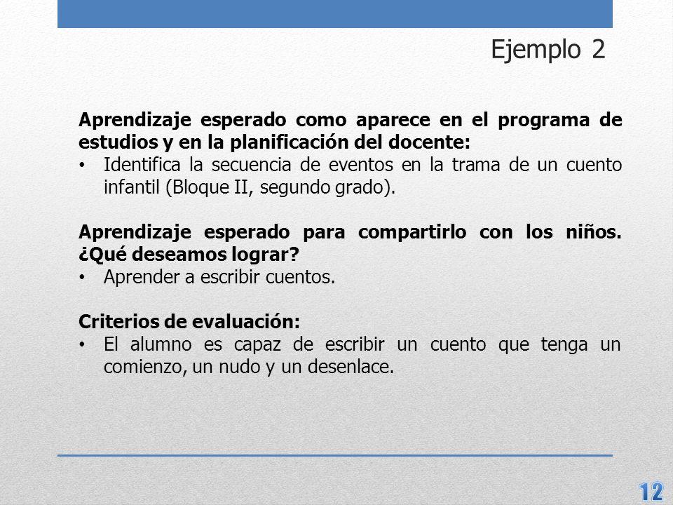 Ejemplo 2 Aprendizaje esperado como aparece en el programa de estudios y en la planificación del docente: Identifica la secuencia de eventos en la trama de un cuento infantil (Bloque II, segundo grado).