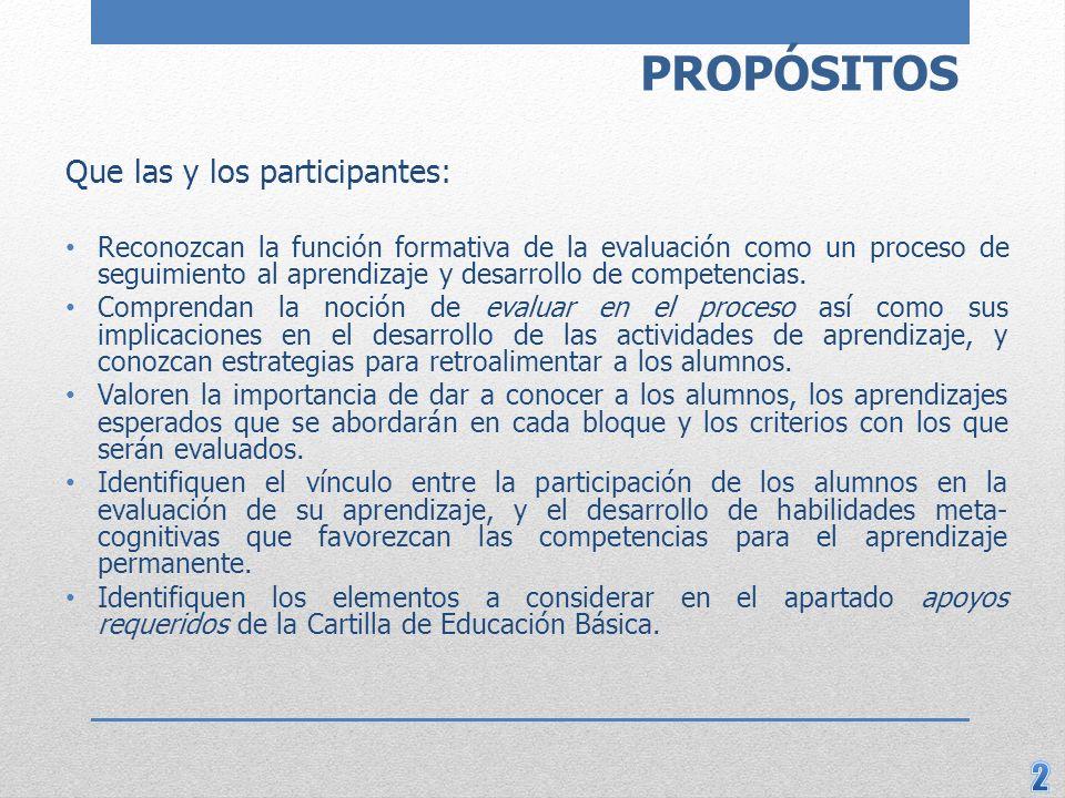 PROPÓSITOS Que las y los participantes: Reconozcan la función formativa de la evaluación como un proceso de seguimiento al aprendizaje y desarrollo de