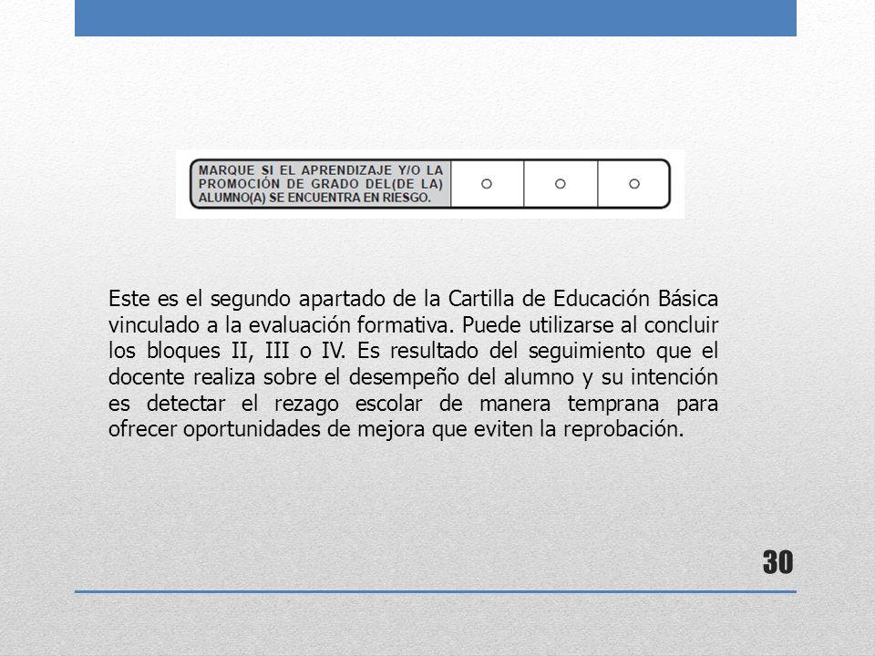 30 Este es el segundo apartado de la Cartilla de Educación Básica vinculado a la evaluación formativa. Puede utilizarse al concluir los bloques II, II