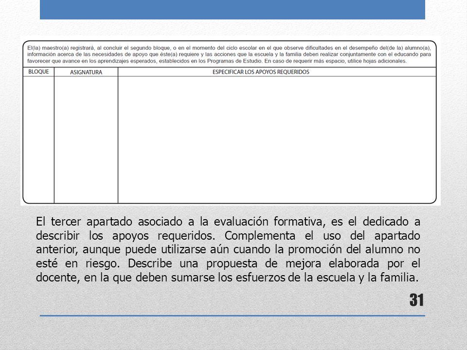31 El tercer apartado asociado a la evaluación formativa, es el dedicado a describir los apoyos requeridos. Complementa el uso del apartado anterior,