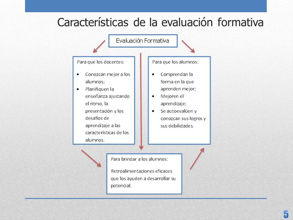 Características de la evaluación que promueve el aprendizaje Es un componente esencial de la enseñanza y el aprendizaje, y no un agregado al final de estos procesos.