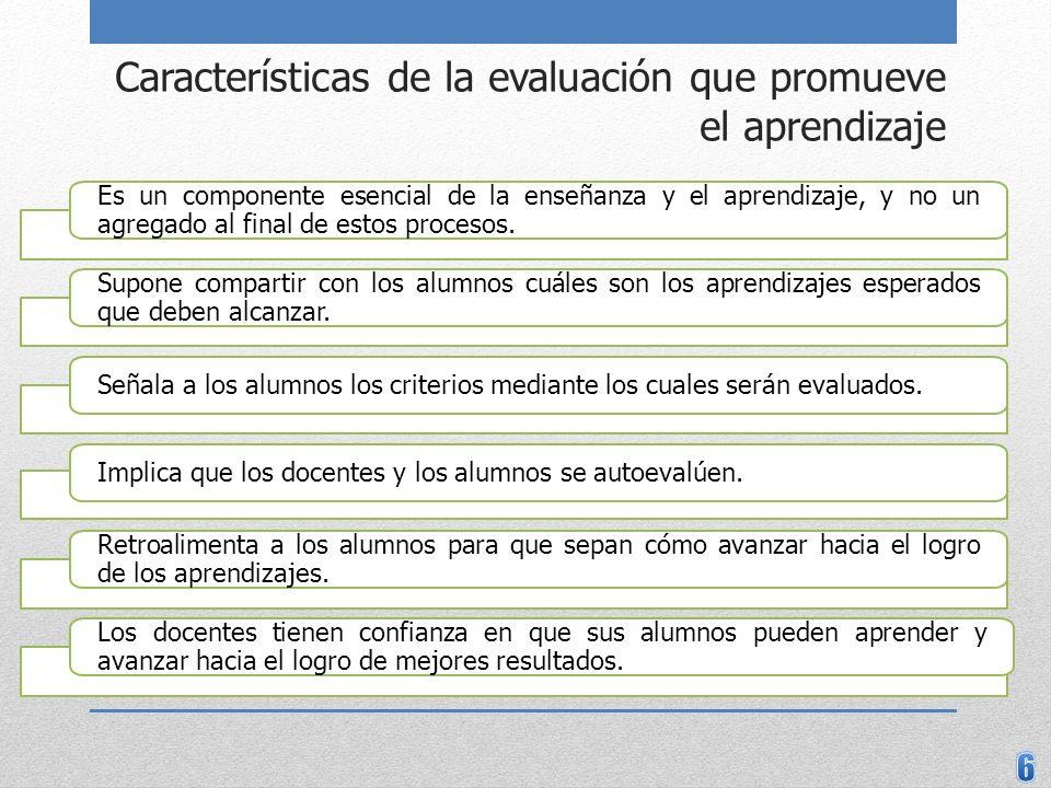 Características de la evaluación que promueve el aprendizaje Es un componente esencial de la enseñanza y el aprendizaje, y no un agregado al final de