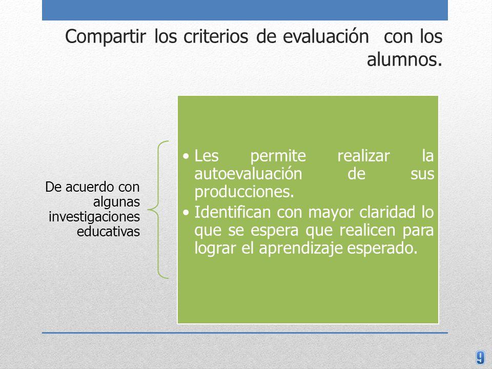 Compartir los criterios de evaluación con los alumnos. De acuerdo con algunas investigaciones educativas Les permite realizar la autoevaluación de sus