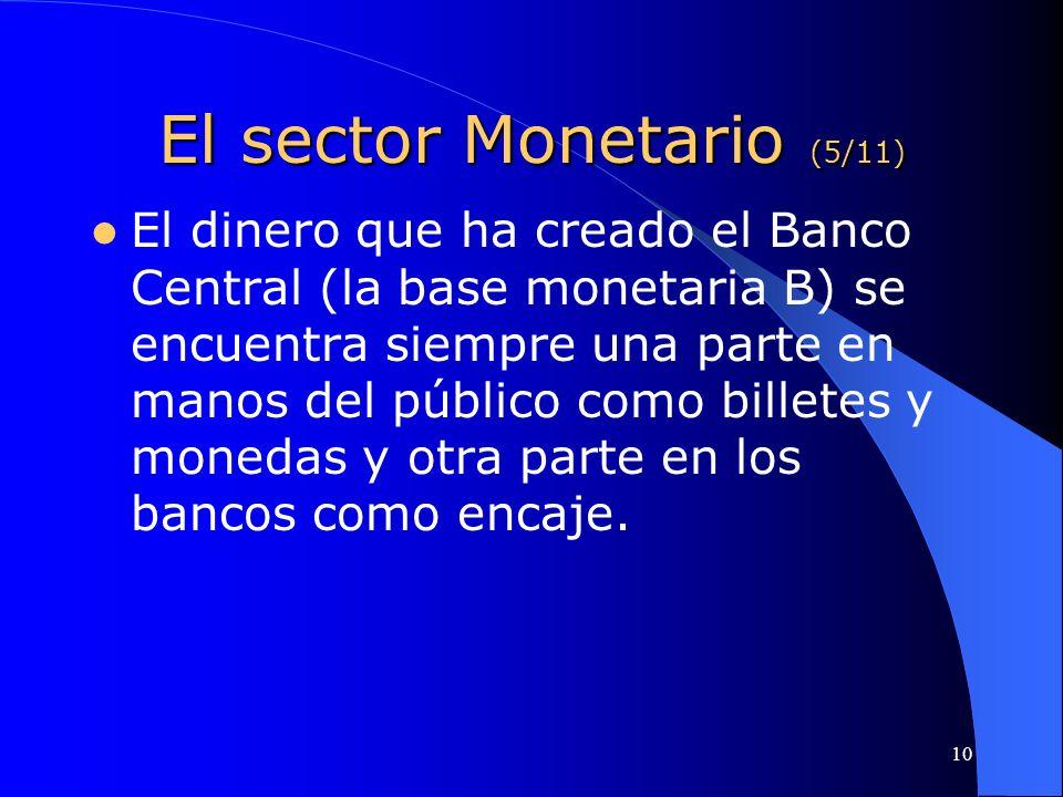 10 El sector Monetario (5/11) El dinero que ha creado el Banco Central (la base monetaria B) se encuentra siempre una parte en manos del público como