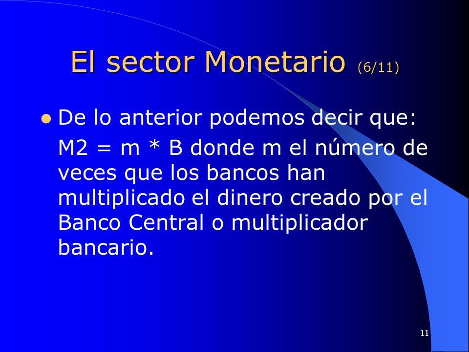 11 El sector Monetario (6/11) De lo anterior podemos decir que: M2 = m * B donde m el número de veces que los bancos han multiplicado el dinero creado