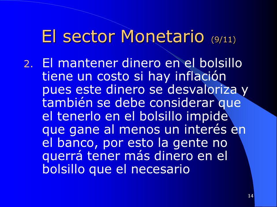 14 El sector Monetario (9/11) 2. El mantener dinero en el bolsillo tiene un costo si hay inflación pues este dinero se desvaloriza y también se debe c