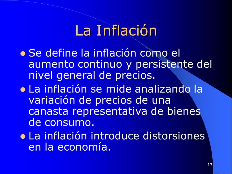 17 La Inflación Se define la inflación como el aumento continuo y persistente del nivel general de precios. La inflación se mide analizando la variaci