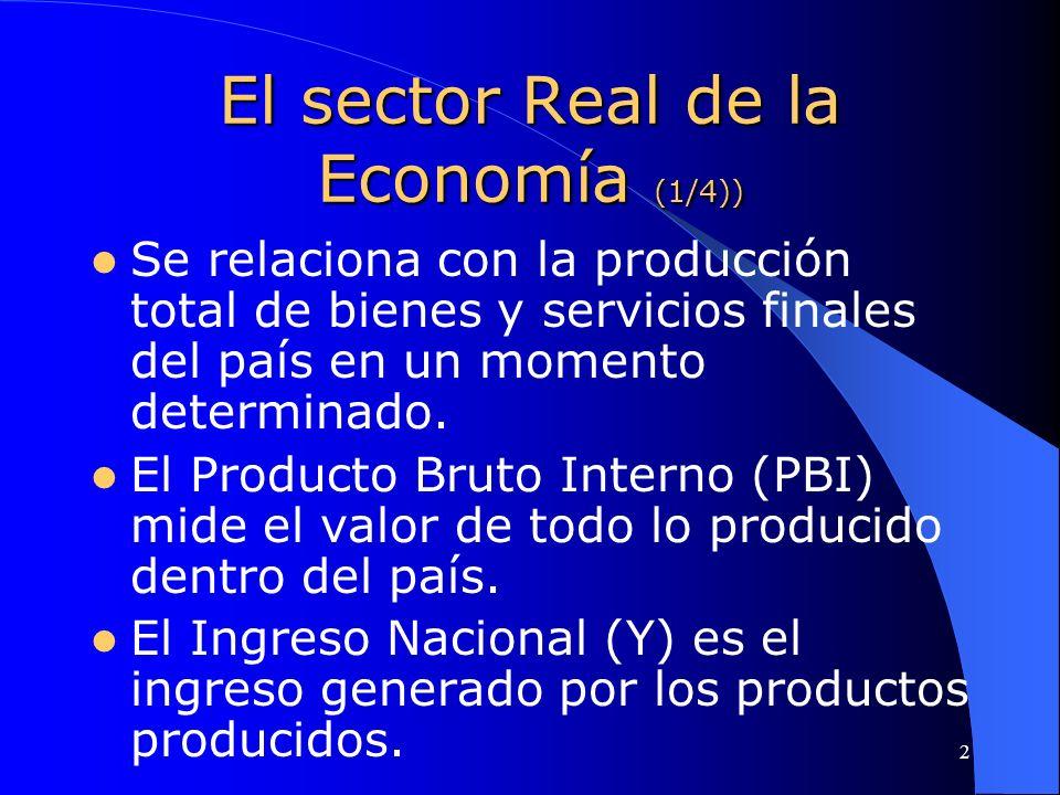 2 El sector Real de la Economía (1/4)) Se relaciona con la producción total de bienes y servicios finales del país en un momento determinado. El Produ