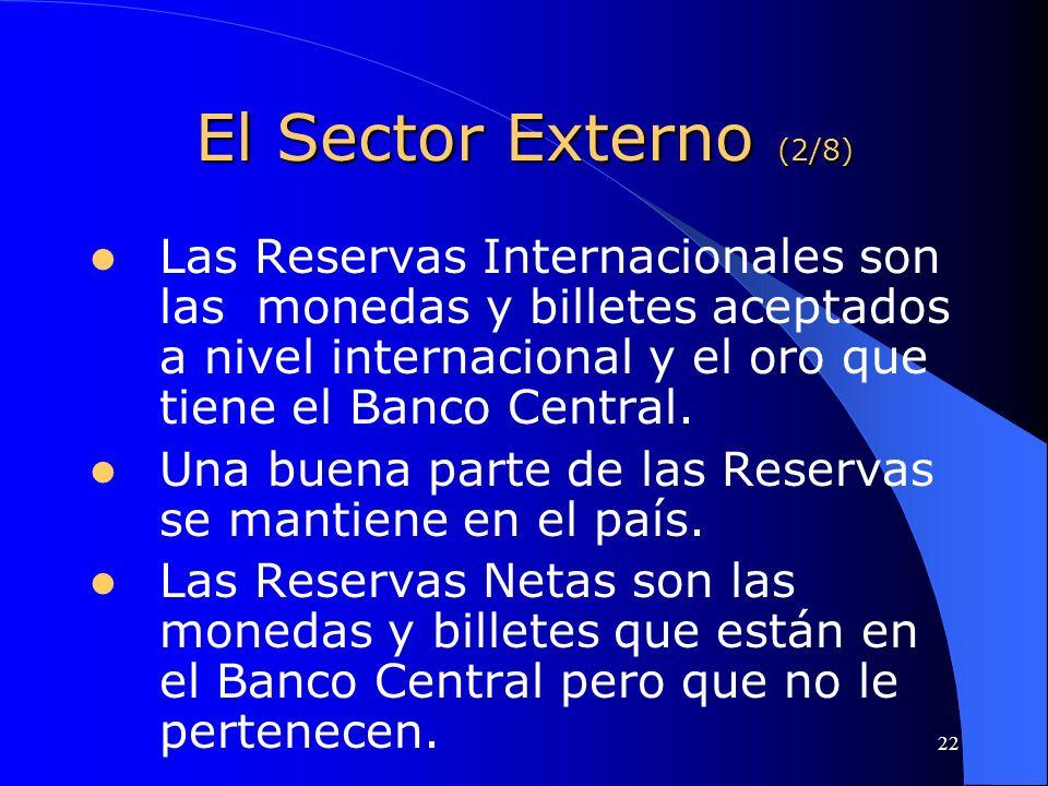 22 El Sector Externo (2/8) Las Reservas Internacionales son las monedas y billetes aceptados a nivel internacional y el oro que tiene el Banco Central