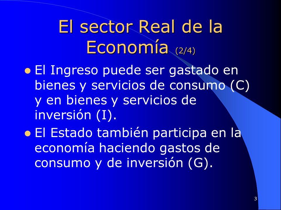3 El sector Real de la Economía (2/4) El Ingreso puede ser gastado en bienes y servicios de consumo (C) y en bienes y servicios de inversión (I). El E