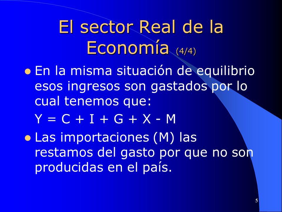 5 El sector Real de la Economía (4/4) En la misma situación de equilibrio esos ingresos son gastados por lo cual tenemos que: Y = C + I + G + X - M La