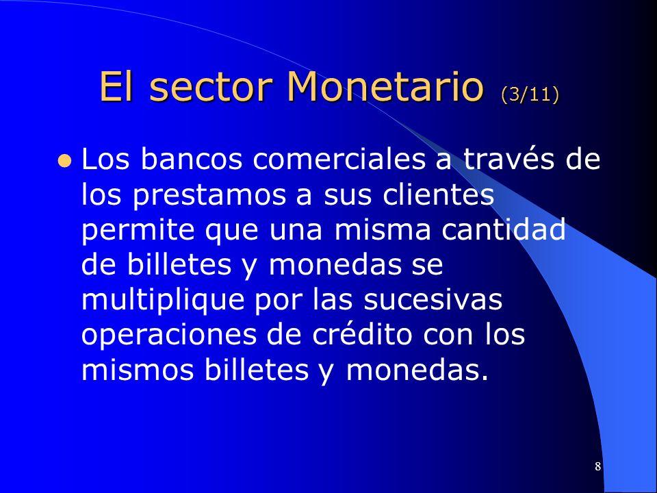 8 El sector Monetario (3/11) Los bancos comerciales a través de los prestamos a sus clientes permite que una misma cantidad de billetes y monedas se m