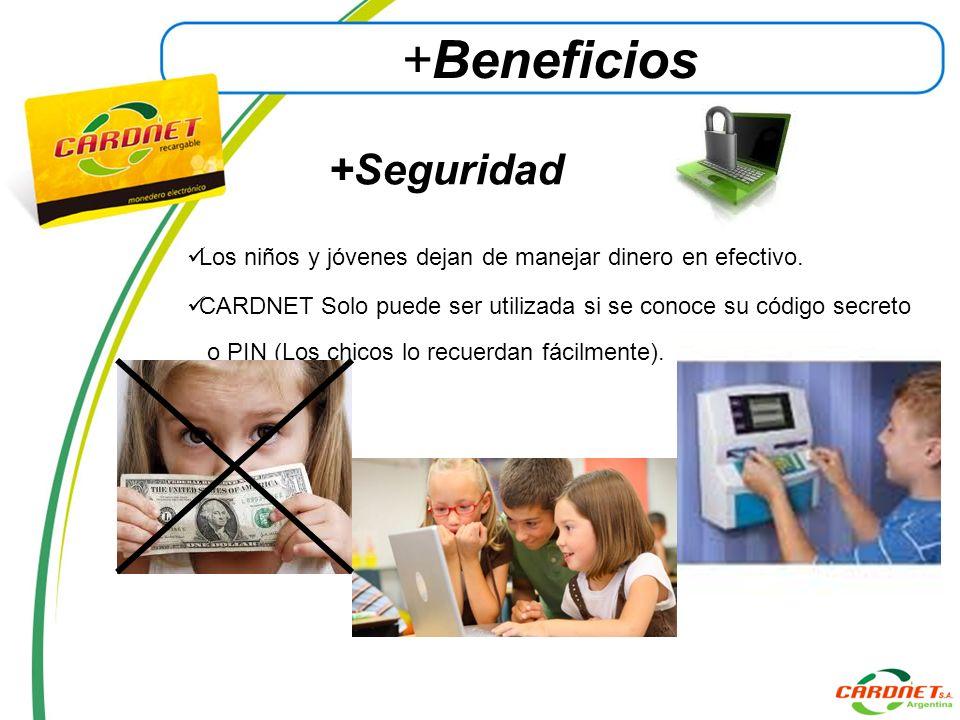 +Seguridad Los niños y jóvenes dejan de manejar dinero en efectivo. CARDNET Solo puede ser utilizada si se conoce su código secreto o PIN (Los chicos