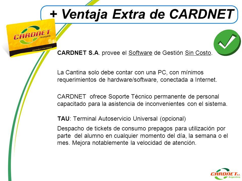 CARDNET S.A. provee el Software de Gestión Sin Costo. La Cantina solo debe contar con una PC, con mínimos requerimientos de hardware/software, conecta