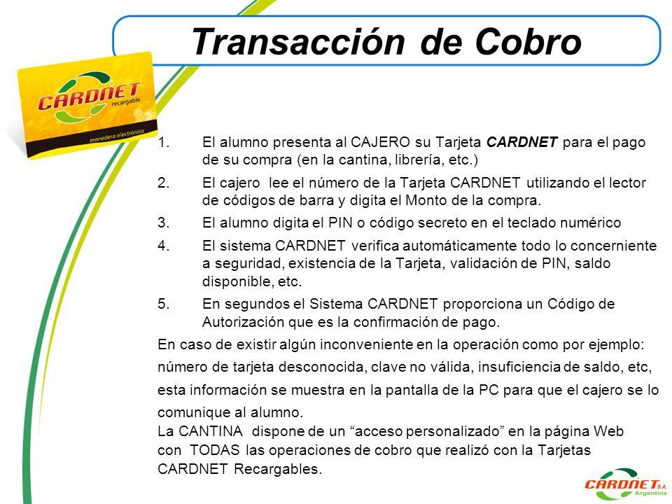 Transacción de Cobro 1.El alumno presenta al CAJERO su Tarjeta CARDNET para el pago de su compra (en la cantina, librería, etc.) 2.El cajero lee el nú
