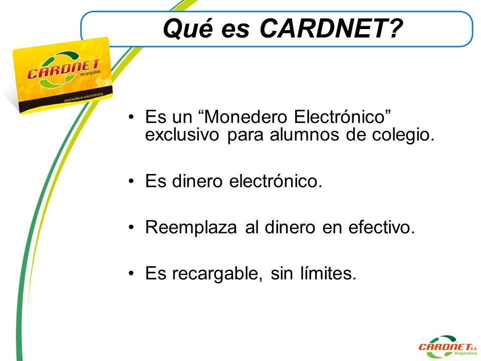 Qué es CARDNET? Es un Monedero Electrónico exclusivo para alumnos de colegio. Es dinero electrónico. Reemplaza al dinero en efectivo. Es recargable, s