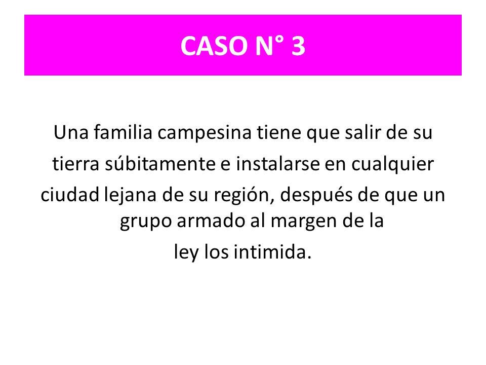 CASO N° 3 Una familia campesina tiene que salir de su tierra súbitamente e instalarse en cualquier ciudad lejana de su región, después de que un grupo