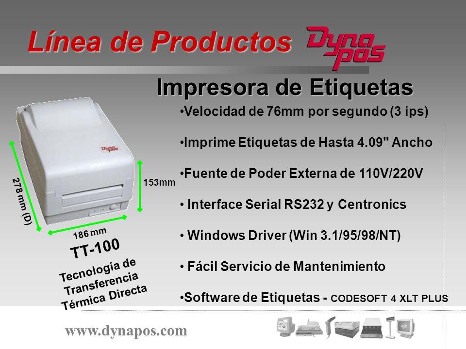 Velocidad de 76mm por segundo (3 ips) Imprime Etiquetas de Hasta 4.09