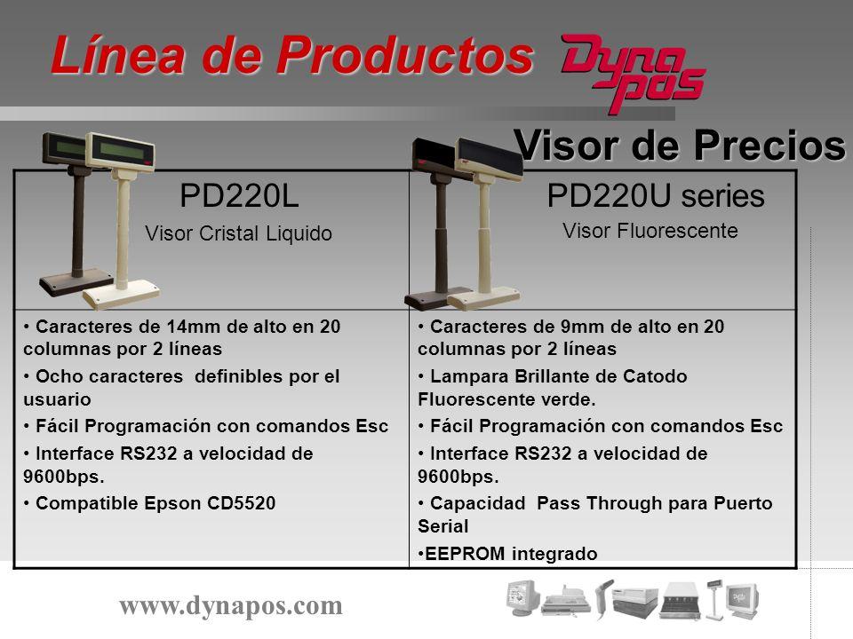 Visor de Precios PD220L Visor Cristal Liquido PD220U series Caracteres de 14mm de alto en 20 columnas por 2 líneas Ocho caracteres definibles por el u