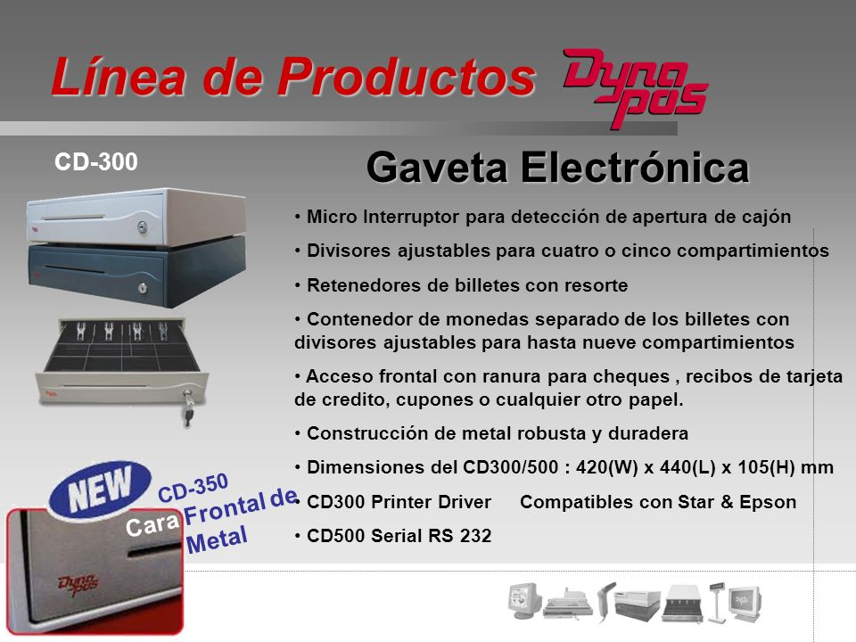 Gaveta Electrónica Micro Interruptor para detección de apertura de cajón Divisores ajustables para cuatro o cinco compartimientos Retenedores de bille