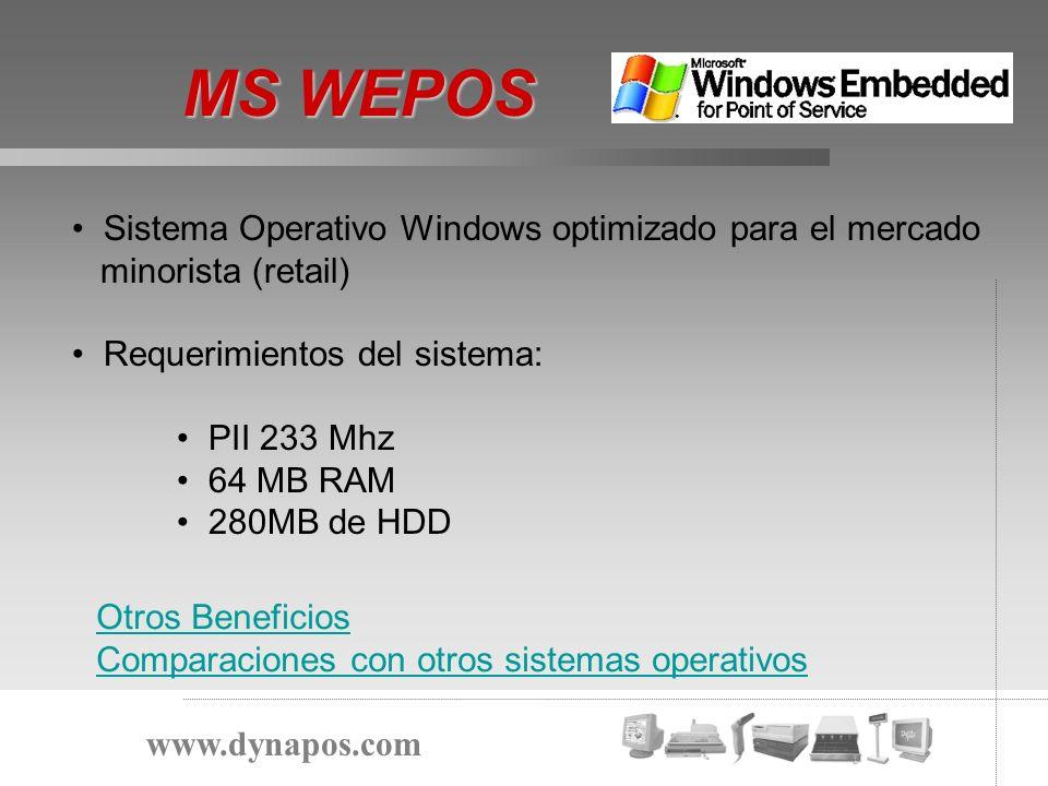 MS WEPOS www.dynapos.com Sistema Operativo Windows optimizado para el mercado minorista (retail) Requerimientos del sistema: PII 233 Mhz 64 MB RAM 280