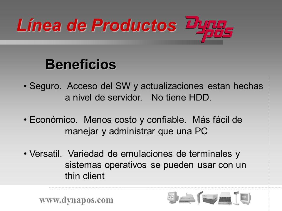 Beneficios Línea de Productos www.dynapos.com Seguro. Acceso del SW y actualizaciones estan hechas a nivel de servidor. No tiene HDD. Económico. Menos