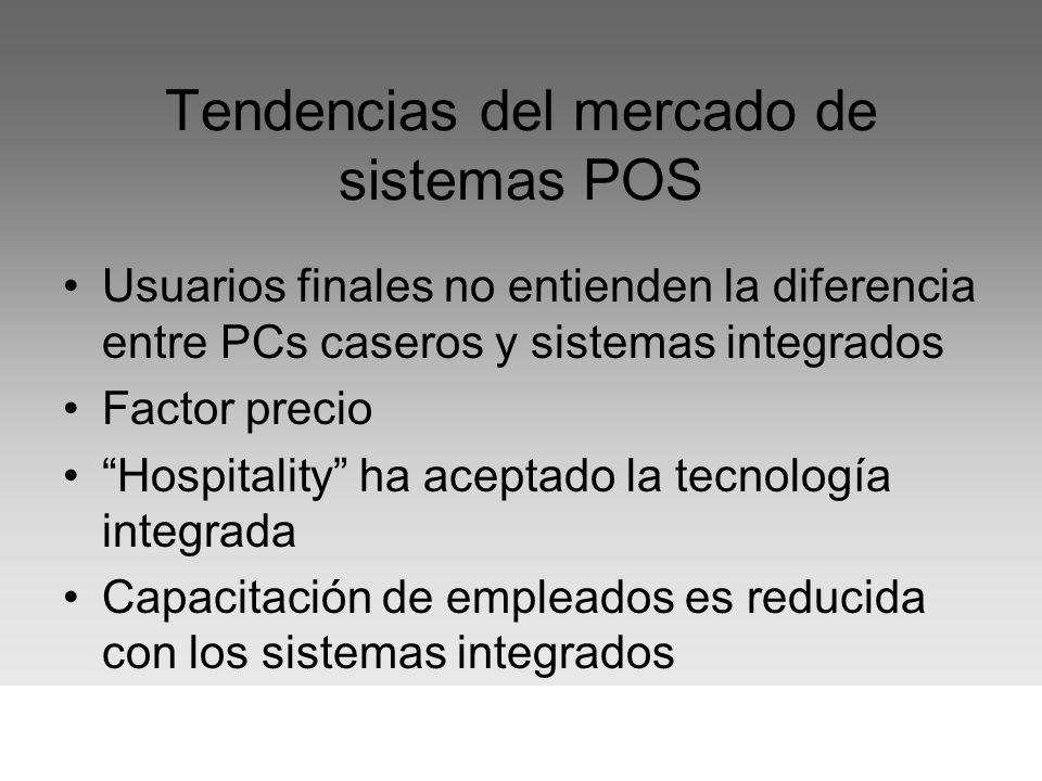 Tendencias del mercado de sistemas POS Usuarios finales no entienden la diferencia entre PCs caseros y sistemas integrados Factor precio Hospitality h