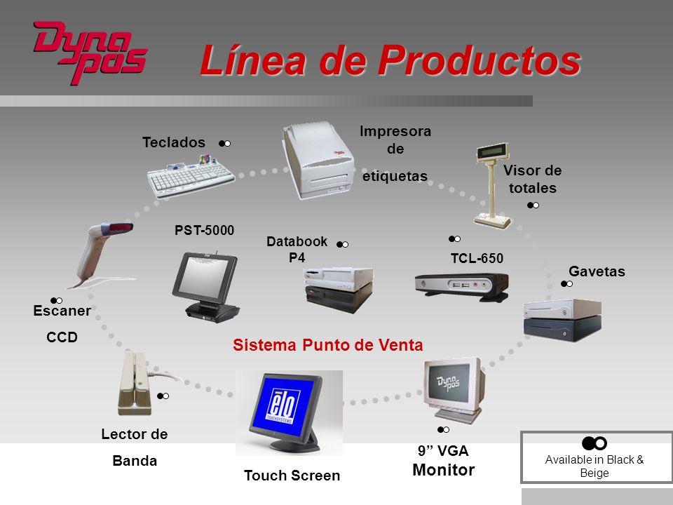 Línea de Productos Escaner CCD Lector de Banda Sistema Punto de Venta Visor de totales 9 VGA Monitor Gavetas Databook P4 Teclados Available in Black &