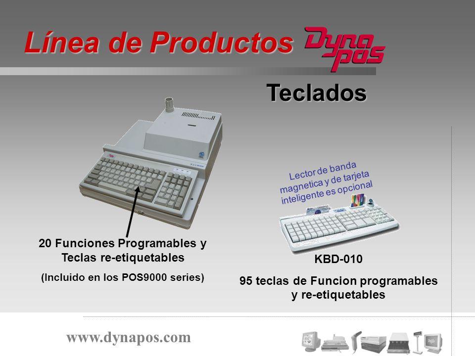 Teclados 20 Funciones Programables y Teclas re-etiquetables (Incluido en los POS9000 series) KBD-010 95 teclas de Funcion programables y re-etiquetabl