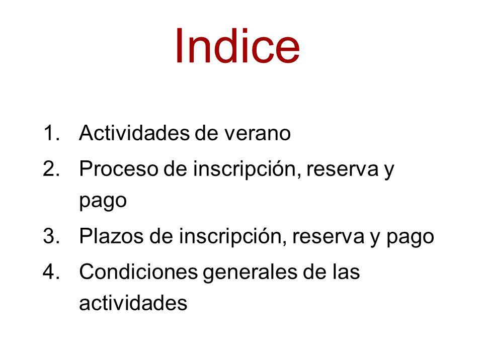 Indice 1.Actividades de verano 2.Proceso de inscripción, reserva y pago 3.Plazos de inscripción, reserva y pago 4.Condiciones generales de las actividades