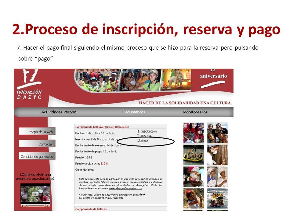 2.Proceso de inscripción, reserva y pago 7.