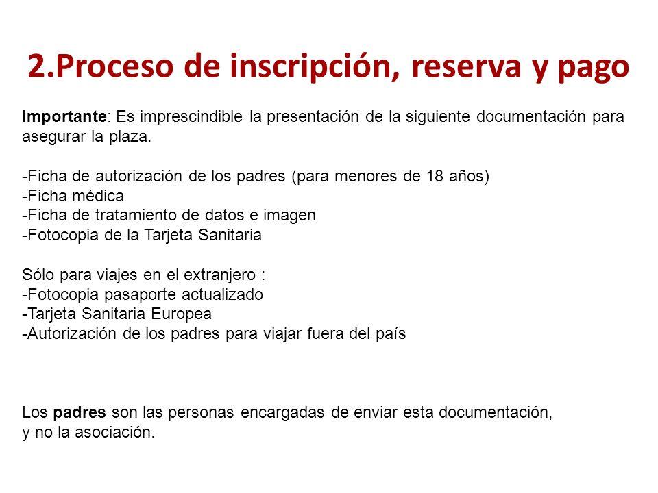 2.Proceso de inscripción, reserva y pago Importante: Es imprescindible la presentación de la siguiente documentación para asegurar la plaza.