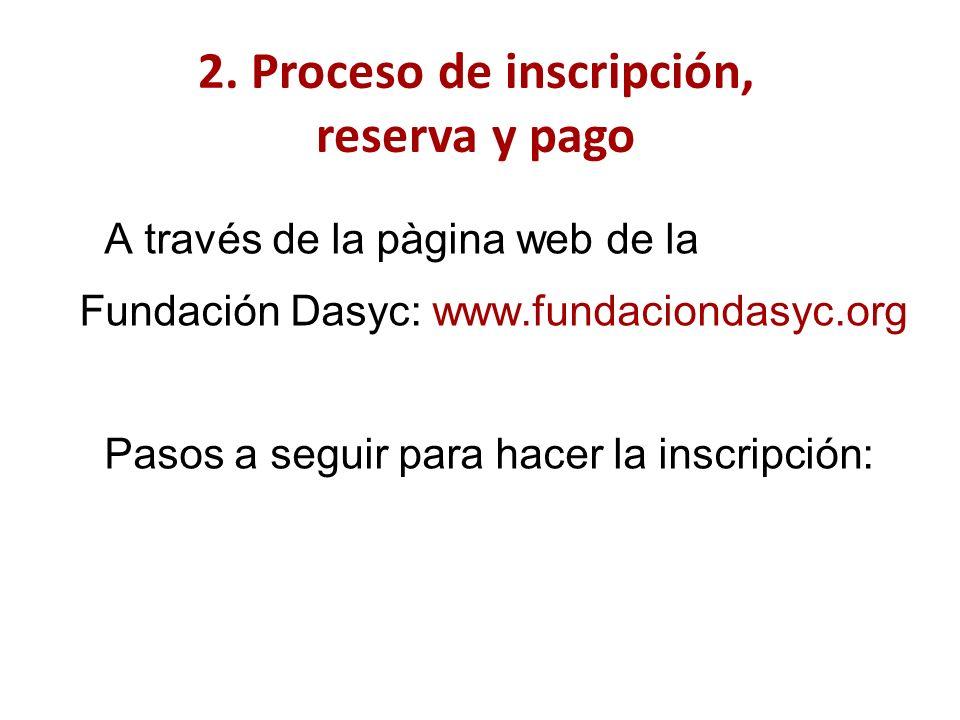 A través de la pàgina web de la Fundación Dasyc: www.fundaciondasyc.org Pasos a seguir para hacer la inscripción: 2.
