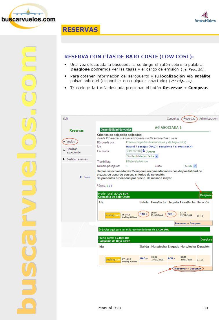 Manual B2B 30 RESERVA CON CÍAS DE BAJO COSTE (LOW COST): Una vez efectuada la búsqueda si se dirige el ratón sobre la palabra Desglose podremos ver la