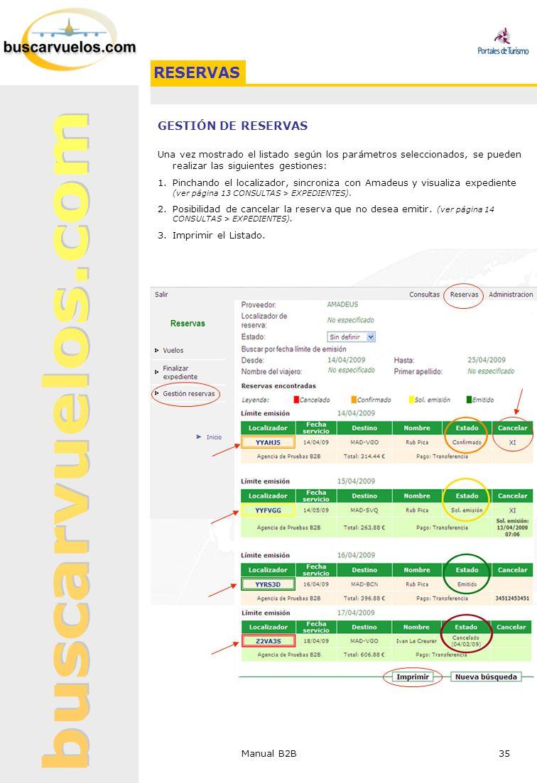 Manual B2B 35 GESTIÓN DE RESERVAS Una vez mostrado el listado según los parámetros seleccionados, se pueden realizar las siguientes gestiones: 1.Pinch