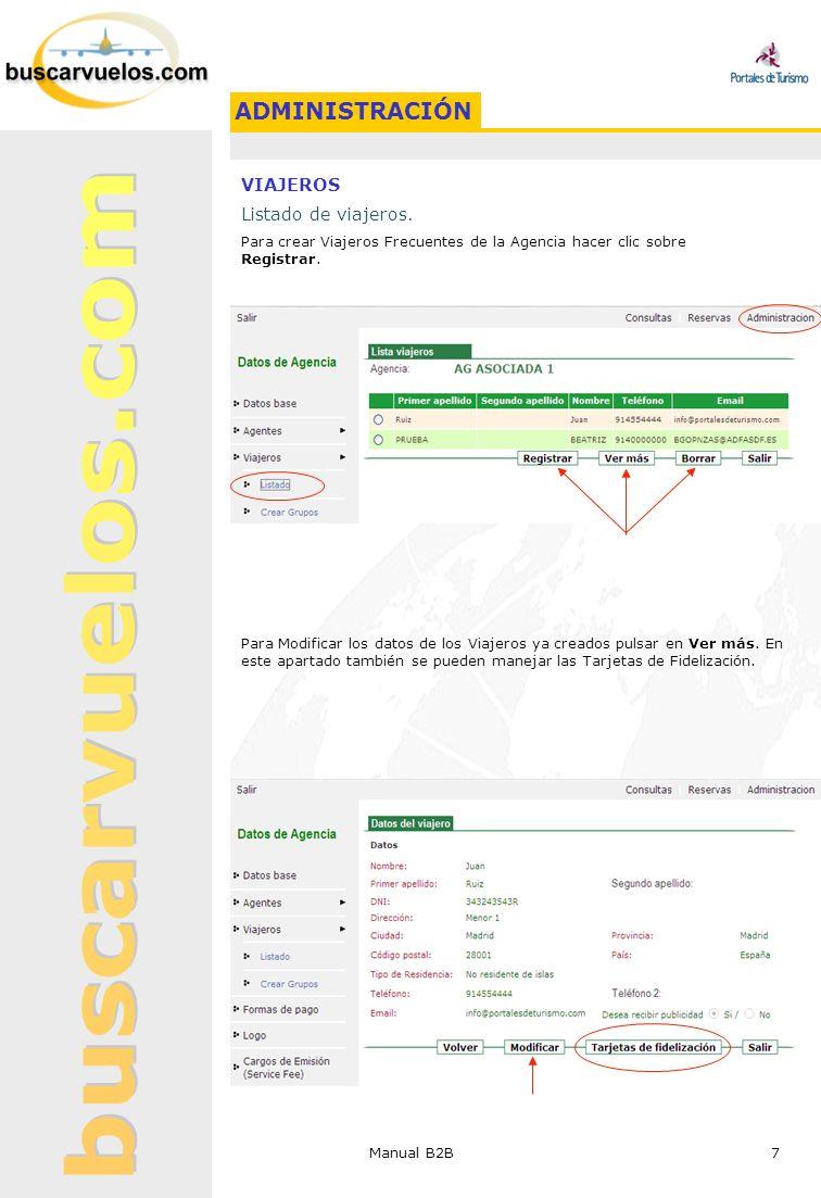Manual B2B 7 VIAJEROS Listado de viajeros. Para crear Viajeros Frecuentes de la Agencia hacer clic sobre Registrar. Para Modificar los datos de los Vi